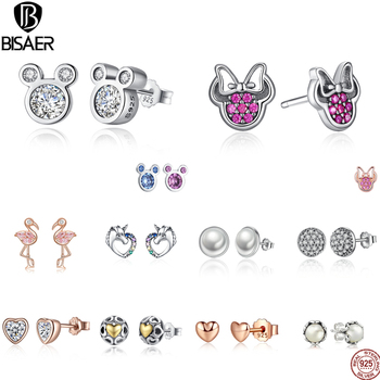 BISAER Wholesale 925 Sterling Silver Earrings Women Cartoon Mouse Animal Love Heart Sparkling Minnie Silver 925 Jewelry