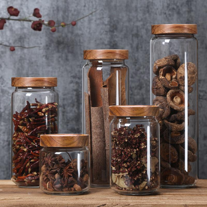 Dustproof Moisture Proof With Lid Bamboo Glass Airtight Canister Storage Bottles Multipurpose Home Kitchen Spices Storage Jar