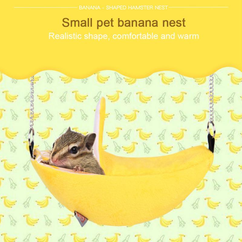 Pet Bird Hamster Ferret Squirrel Hammock Hanging Cage Nest Bed House Toys Banana Design Small Animals Nest Pet Hamster Supplies