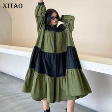 Xitao retalhos plus size vestido feminino moda solta personalidade simples turn down collar 2020 novo outono vestido de manga completa zp3455