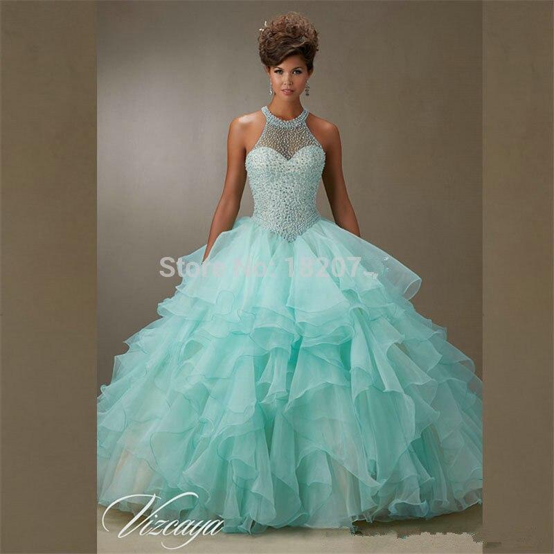 Turquoise 2019 Quinceanera robes robe de bal licou Organza volants perles cristaux pas cher doux 16 robes