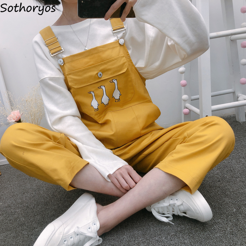 <font><b>Jumpsuits</b></font> Women Ulzzang Harajuku Streetwera High Quality Soft <font><b>Kawaii</b></font> Student Loose Korean Style Summer Trendy Womens Trousers image