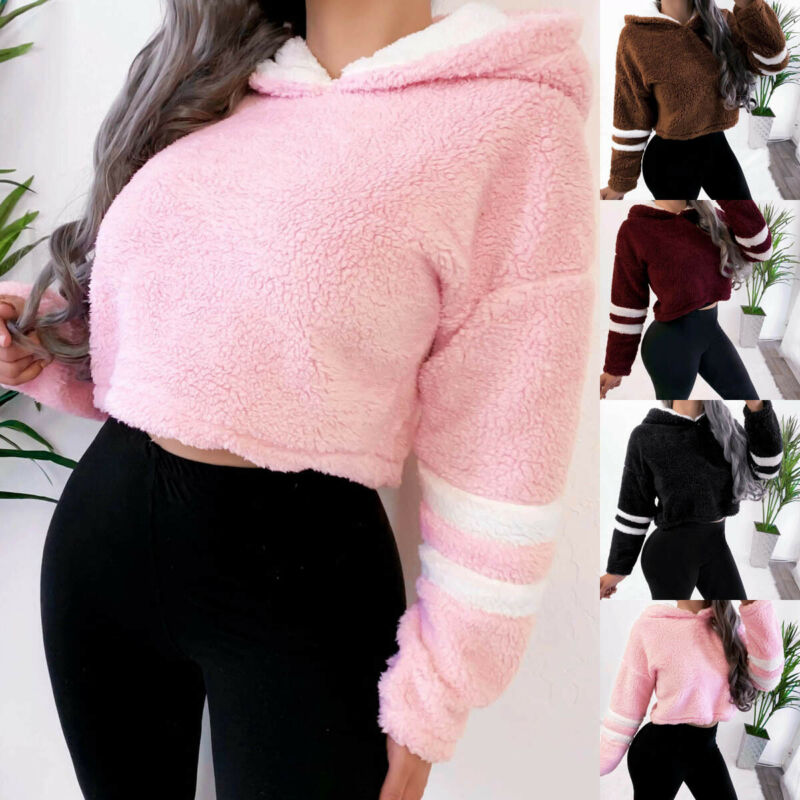 Women Warm Fluffy Fleece Fur Hoodie Hooded Sweatshirt Pullover Jumper Outerwear