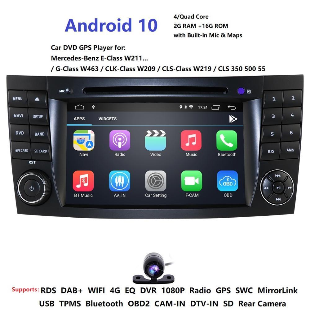 IPS 4G Android 10 2 din auto DVD player Für Mercedes Benz E-klasse W211 E200 E220 E300 e350 E240 E270 E280 CLS KLASSE W219 TUPFEN SD