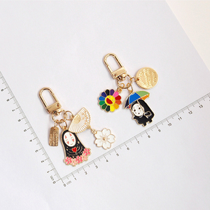 CHUNOU Japan Anime Spirited Away Keychain For Women Men Cherry blossom Fan Key-Ring Car Bag Pendent Charm Airpods Accessories(China)