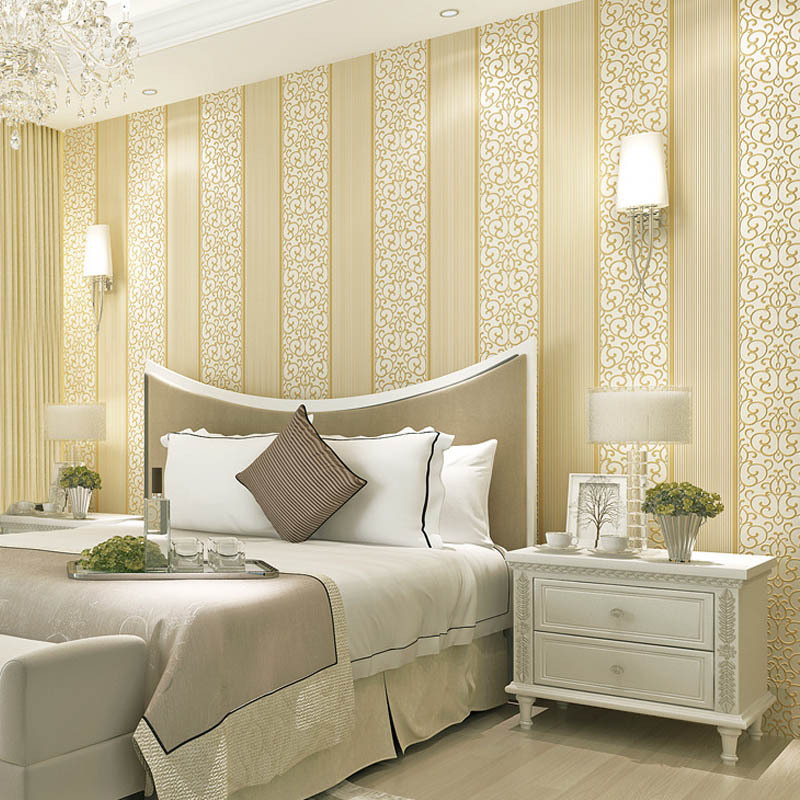 Self Adhesive Wallpaper European Style Non-woven Wallpaper 3D Stripes Bedroom Wall-to-Wall Living Room Wall Self-adhesive
