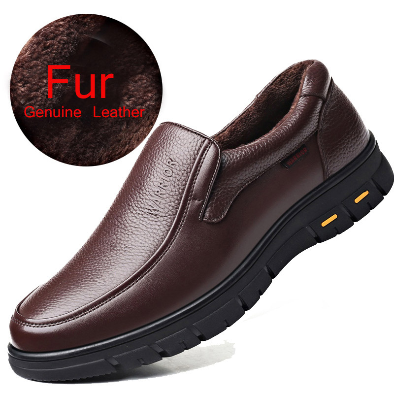 REETENE 2019 New High Quality Men'S Shoes Winter With Fur Plush Warm Loafers Men'S Genuine Leather Casual Shoes Work Shoes