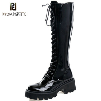 Genuine Leather Thick High Heels Platform Knee Boots Woman Lace Up Women Boots Autumn Winter Fashion Motorcycle Shoes Size 41 42