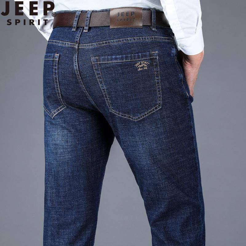 JEEP SPIRIT Famous Brand Jeans Men Spring Business Casual Mid-waist Straight Denim Trousers Men Plus Size Mens Jeans Hombre