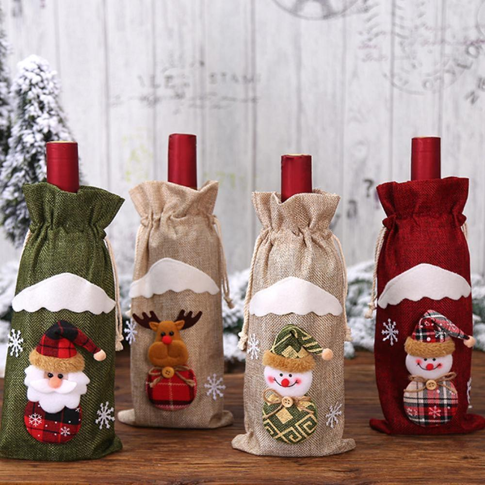 Christmas Drawstring Decorative Wine Bottle Bags Cover For Ornaments Holiday Dinning Table Decor Party Xmas Festival