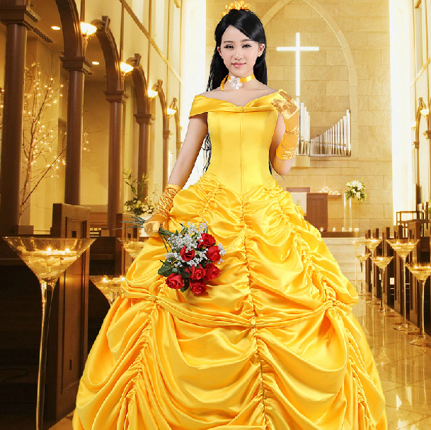 2019 Fairy Tale Cosplay Beauty and the Beast Costumes Adult Princess Belle Costume Fancy Girls Flower