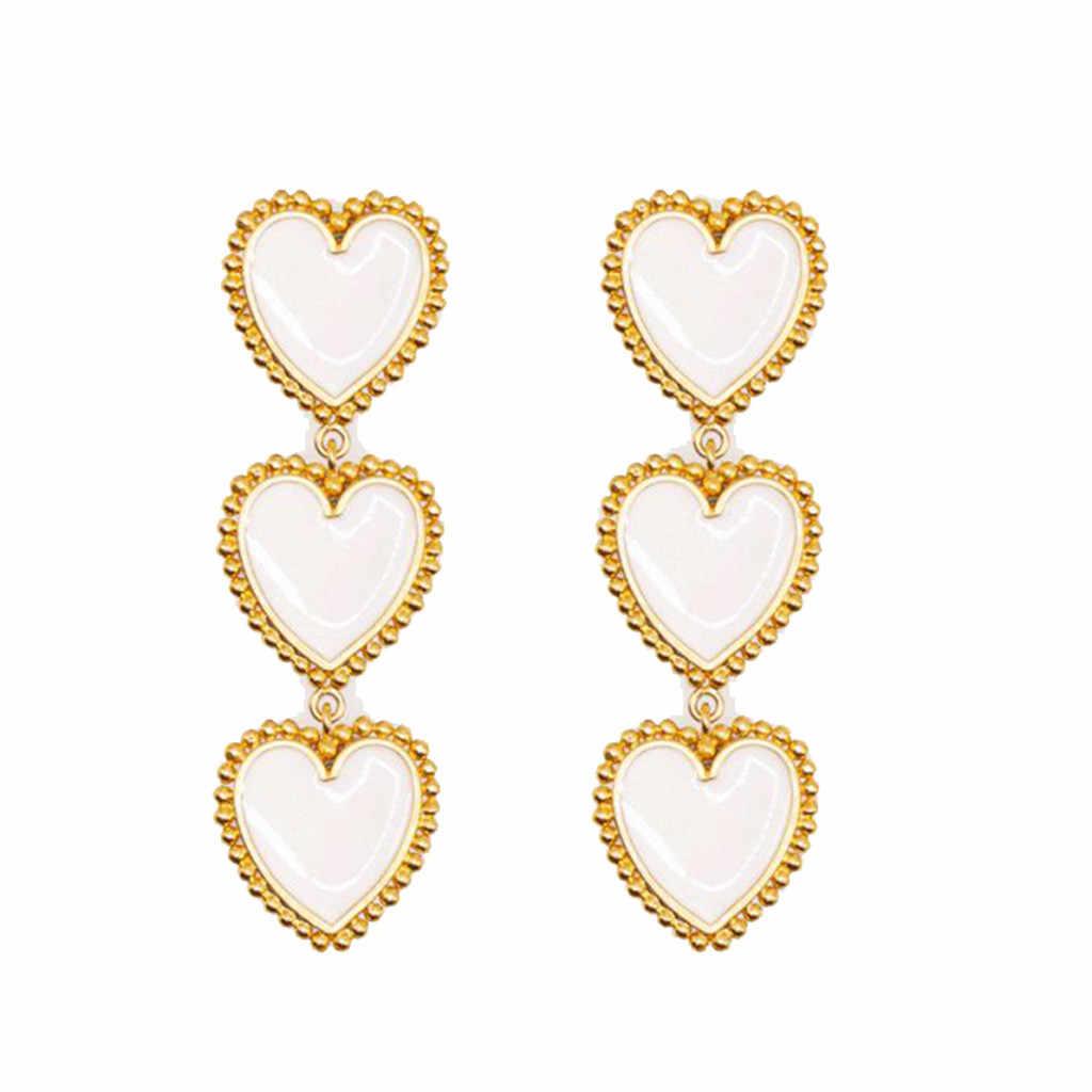 Vintage Panjang Liontin Cinta Merah Geometri Enamel Anting-Anting Manis dan Halus Paduan Anting-Anting Perhiasan Wanita Hadiah Seperti Pernikahan