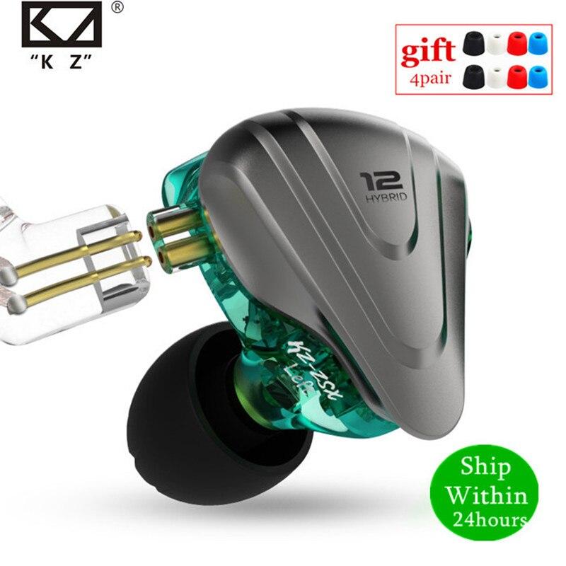 Гибридные наушники-вкладыши KZ ZSX 1DD + 5BA, 12 шт., Hi-Fi металлическая гарнитура, музыкальные спортивные наушники KZ ZS10 PRO AS12 AS16 ZSN PRO C12 DM7 as06 v90
