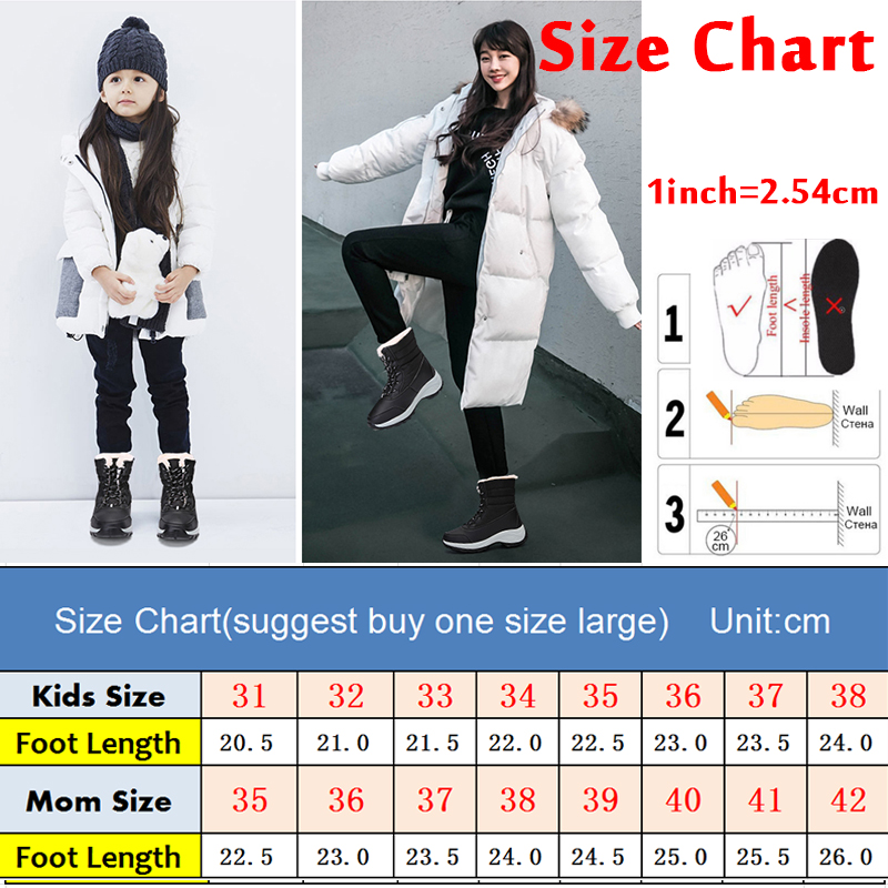 2019 Women Snow boots Waterproof Non-slip Parent-Child Winter Boots Thick Fur Platform Waterproof and Warm Shoes Plus Size 31-42 41