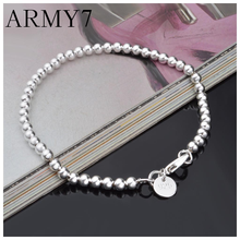 Girls Womens Bracele Silver Round Beads Bracelet Wrist Bangle Long Chain Jewelry Birthday Gifts Free ship(China)