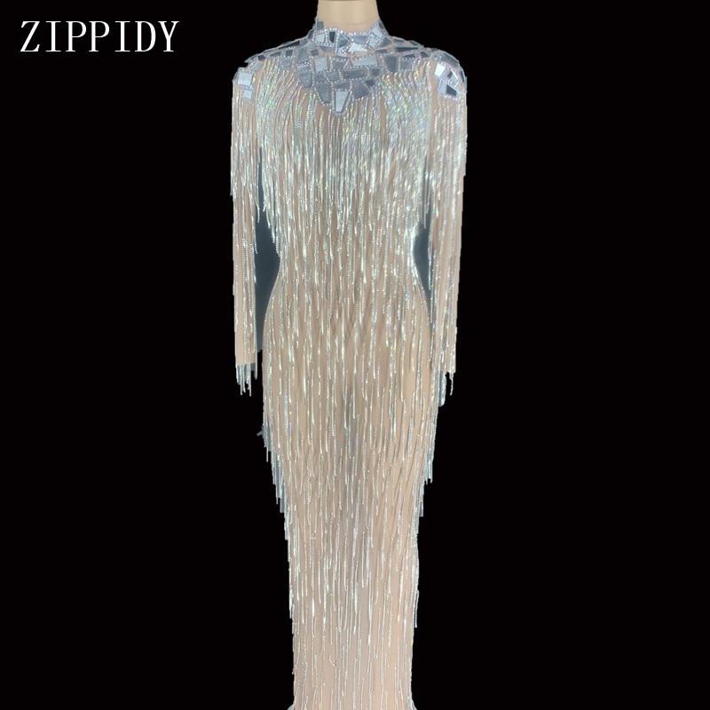 Flashing Silver Mirror Stones Fringe Transparent Long Dress Bar Birthday Celebrate Mesh Outfit DS Dance Dress YOUDU