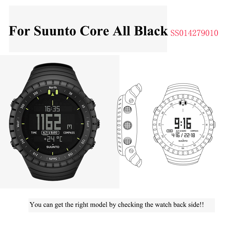 Wtitech Replacement strap  Silicone Band Bracelet for Suunto Core All Black SS014279010