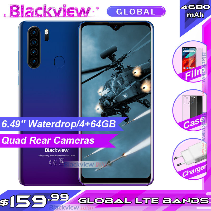 Blackview a80 pro 6.49 waterwaterwaterdrop 4gb + 64gb smartphone helio p25 octa núcleo android 9.0 versão global 4g celular 4680mah