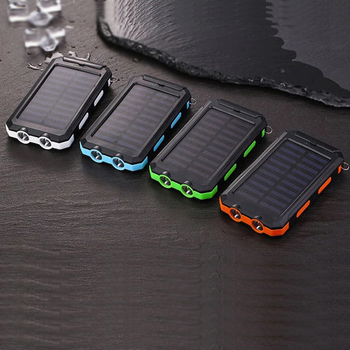 Solar Power Bank 30000mAh Large Capacity Outdoor Travel Portable Solar Panel Charger LED Light Fast Charge Waterproof Charger 6