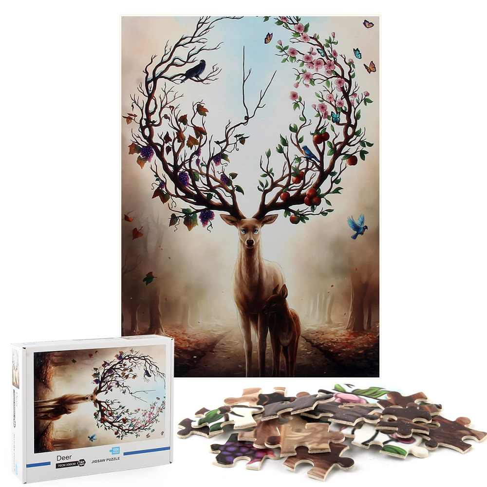 Large Puzzle Game Toys Gift 70x 50cm Jigsaw Puzzles for Adults Kids,1000 Piece Puzzles,Deer Art
