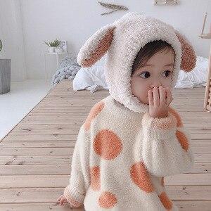 2019 Winter cute baby boys girls color matching Plush hats kids children warm 3 colors rabbit ear caps
