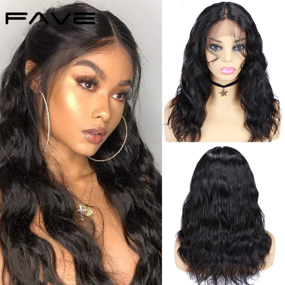 FAVE Lace Front Human Hair Wigs With Baby Hair Brazilian Lace Part Natural Wave Wig Remy Brazilian PrePlucked Hairline Lace Wig