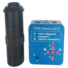 Горячая 3C-Hd 1080P 60Fps 2K 2100W 21Mp Hdmi промышленный электронный Usb цифровой видео микроскоп камера+ 8X-130X C-Mount объектив(Eu Plug