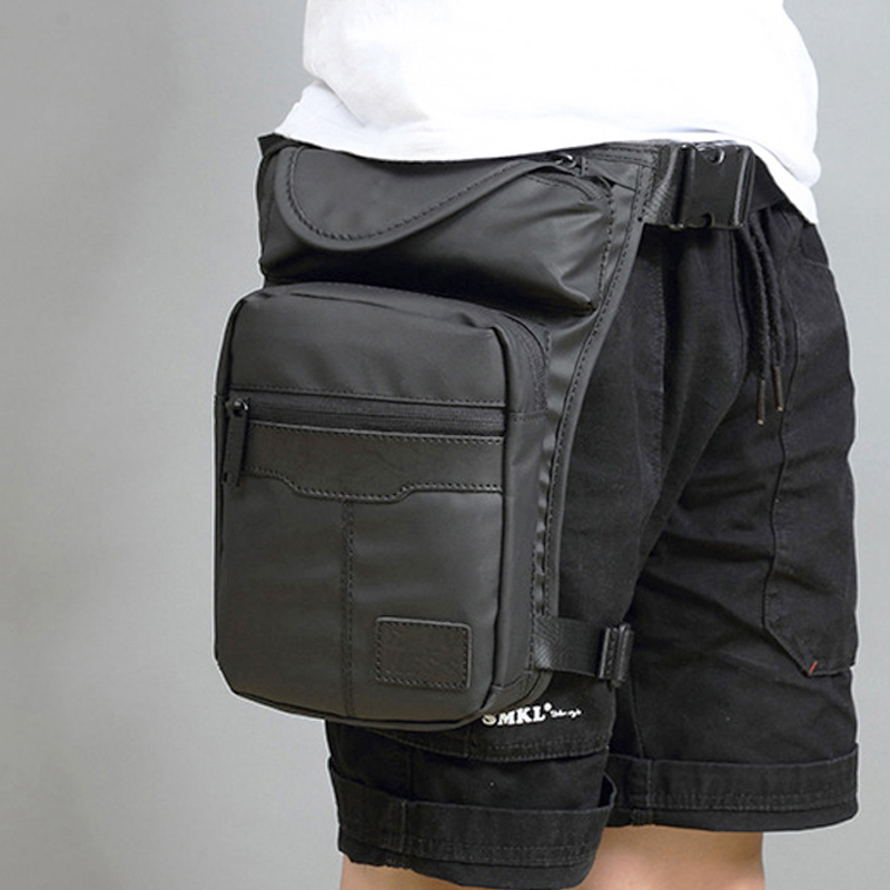 Men Waterproof Nylon LegsBag Thigh Hip Bags Fanny Pack Fashion Motorcycle Riding Waist Travel Crossbody Pack Men's Shoulder Bag