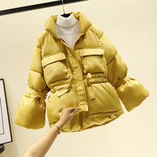 Women winter jackets parkas 2019 Fashion Thick warm Lantern sleeve tops jackets Slim solid sweet jackets for female cheap SNOW PINNACLE Casual zipper JM903 Full Polyester Spray-bonded Wadding Thick (Winter) Broadcloth REGULAR Pockets Adjustable Waist