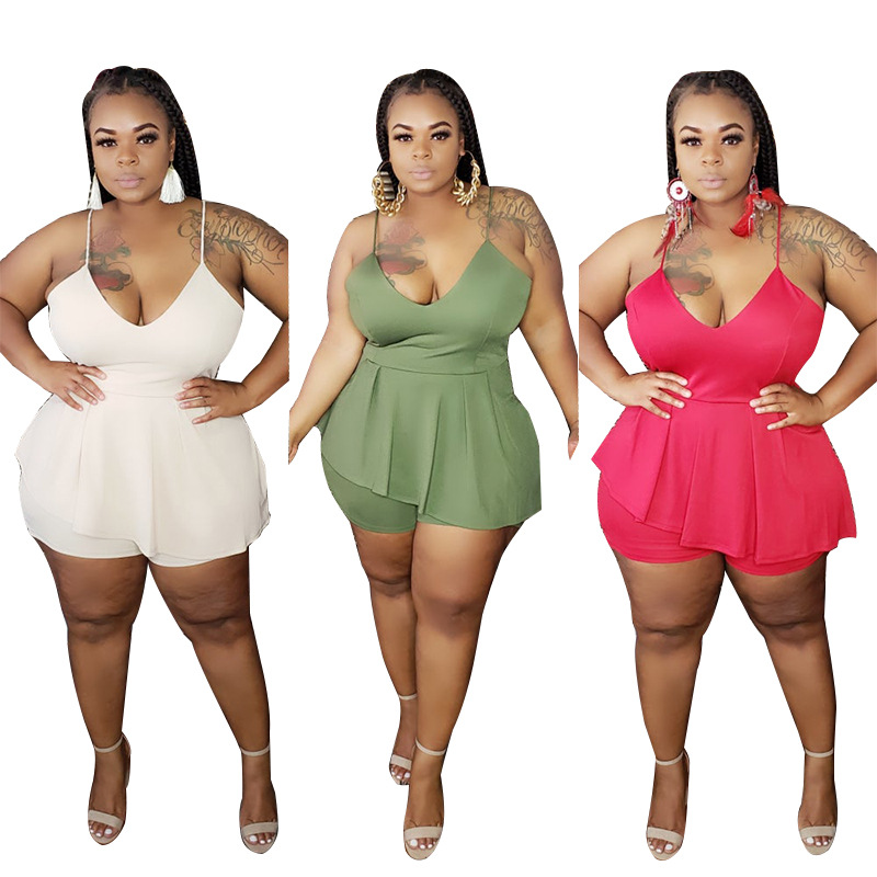 Zoctuo 2020 Solid Sexy Playsuit V-Neck Strap Rompers and Jumpsuits for Women Ruffles 3XL 4XL 5XL Plus Size Jumpsuit Club Rompers