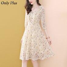 Абрикос цветочный лист платье с вышивкой для женщин 2021 шифоновое платье трапециевидной формы, платье с коротким рукавом v-образный вырез же...