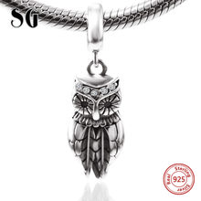 925 sterling silver Cute Animal beads Oxidation owl Pendant Charms Fit Pandora Bracelet for Women Fine Jewelry Accessories(China)