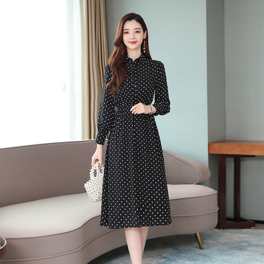 2019 Vintage Black Dot Chic Midi Dresses Autumn Winter Femal Print Beach Long Sleeve Dress Elegant Women Bodycon Party Vestidos 59
