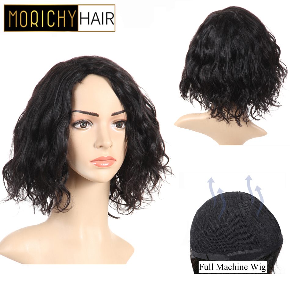 Morichy Natural Body Flip Wave Short Cut Bob Wigs Peruvian Non-Remy Real Human Hair Black Color Glueless Full Wig For Female