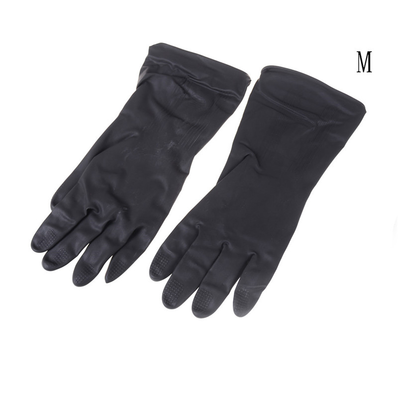1 Pair Black Natural Rubber Gloves Acid Alkali Resistant Chemical Gauntlet HD