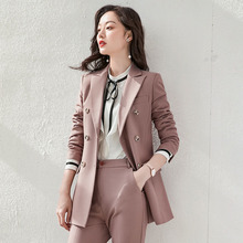 Autumn Double Breasted Office Ladies Blazer suits sets simpl