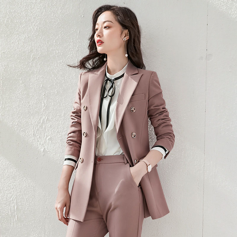Autumn Double Breasted Office Ladies Blazer suits