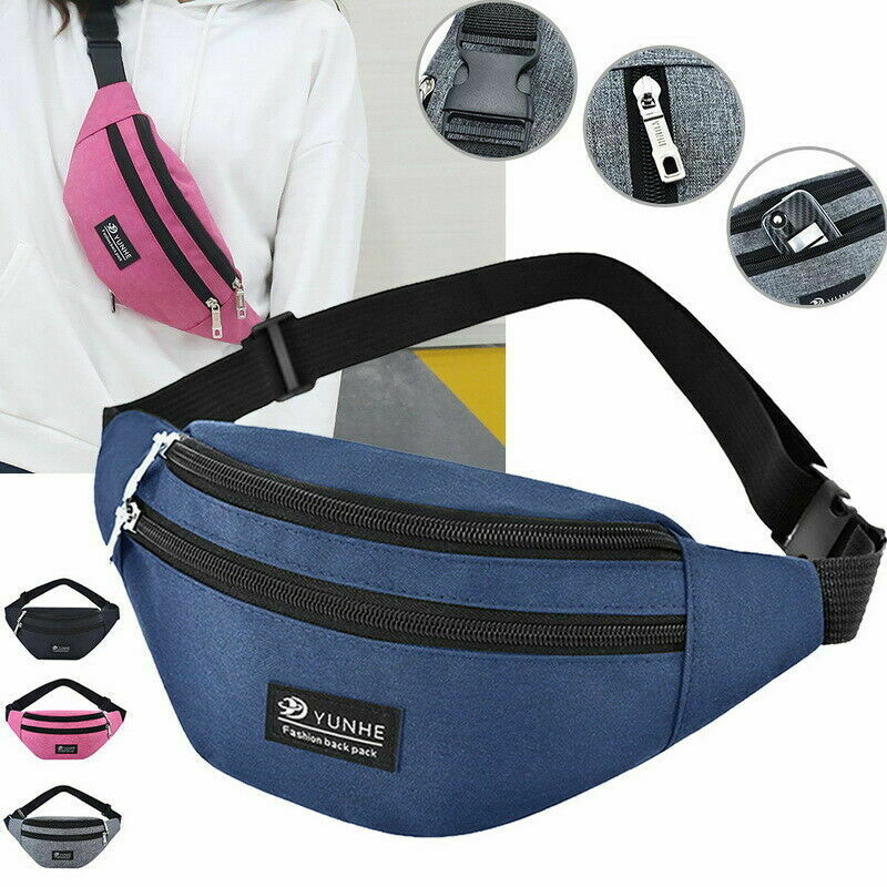 Galleria fotografica Portable Waist Fanny Pack Belt Bag Travel Hip Bum Bag Small Purse Chest Pouch Unisex ZipperWaist Pack Belly Bags
