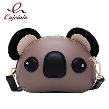 Moda ve sevimli Koala tasarım Pu deri kadın çantalar ve çanta omuzdan askili çanta Crossbody Mini çanta kadın el çantası çantası