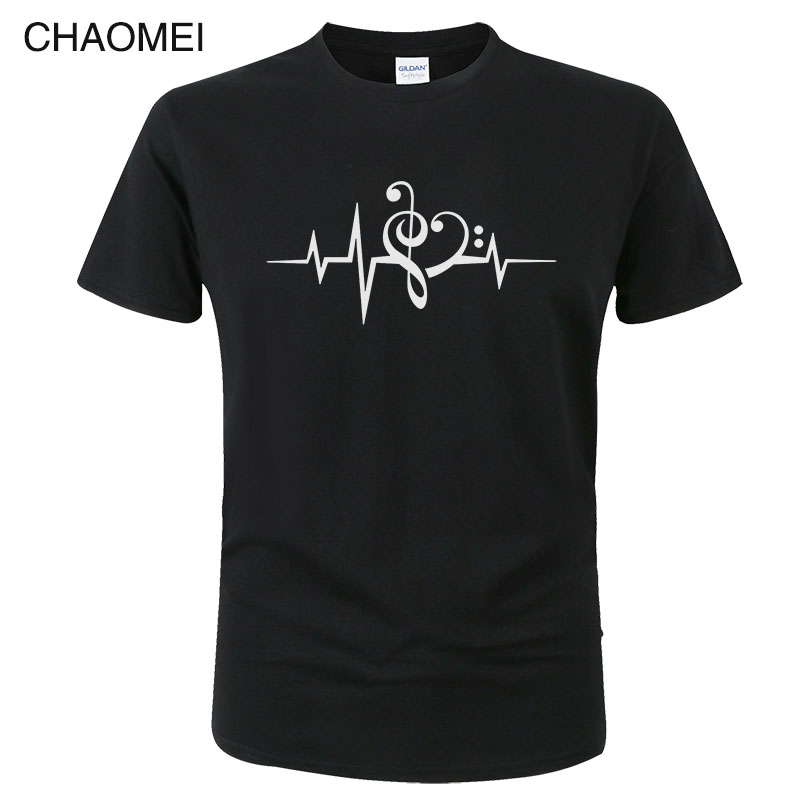 Music Heart Pulse Love Music Bass Clef Treble Clef T Shirt Men Women Summer Cotton T-Shirt Cool Print Tops Tees C54