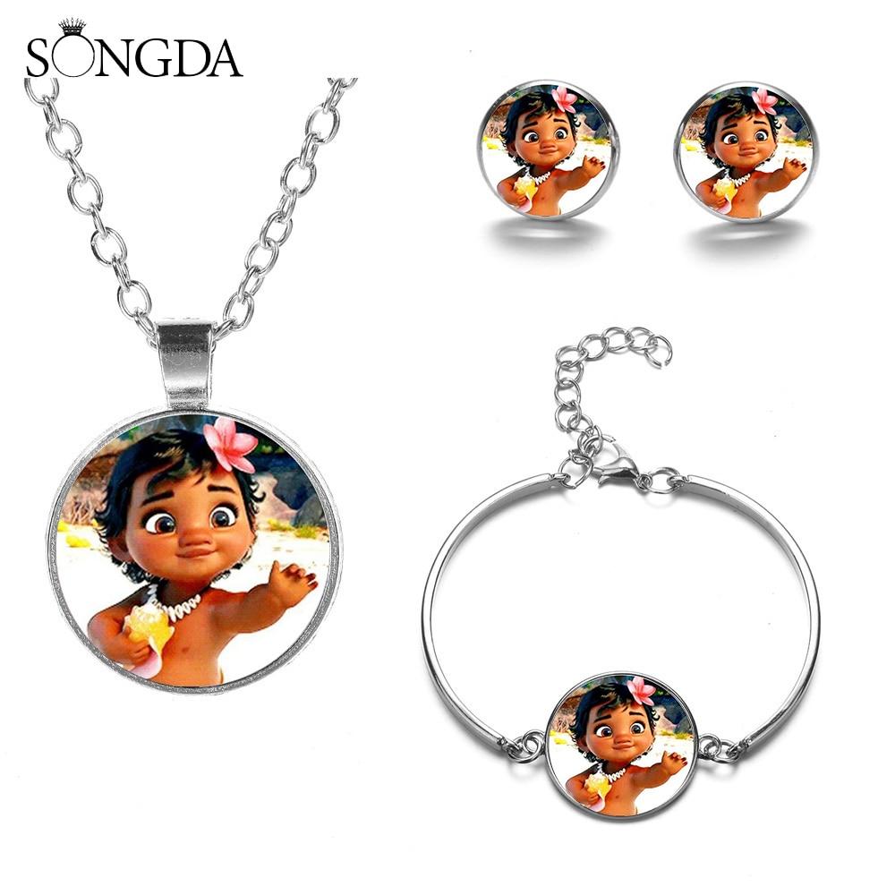 Conjuntos de joyas de Moana de princesa bonita SONGDA para niñas pendientes de broche de dibujos animados conjunto de collar de pulsera accesorios de fiesta de Anime regalo