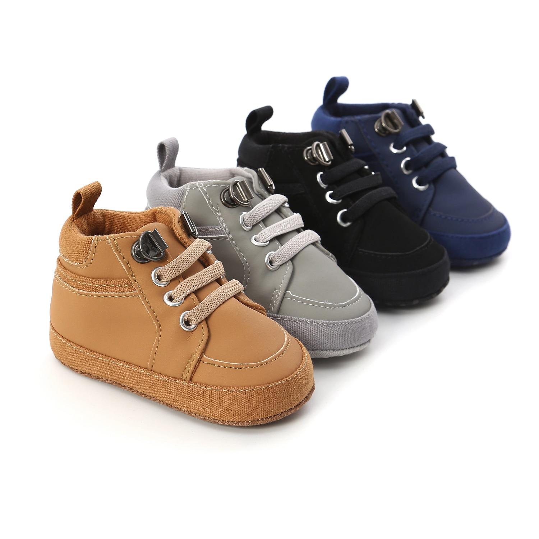 Chaussures antidérapantes en cuir PU pour bébé, semelle en coton, pour les premiers pas, pour garçon, nouveau-né, enfant en bas âge