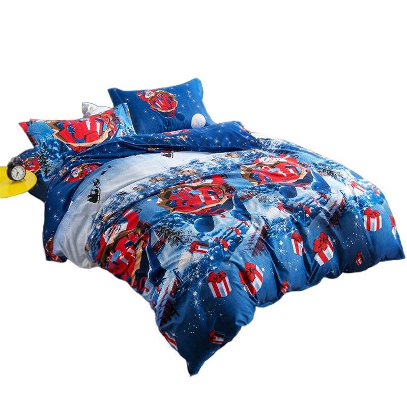 Christmas Bedding Santa Claus Bed Christmas Decorations Bedroom 3D Four-Piece Set Christmas Home Textile Cotton Bedclothes