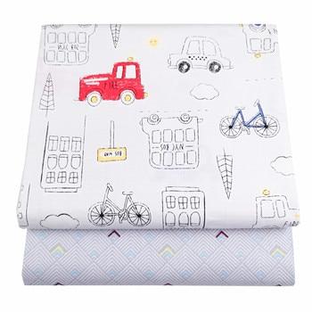 Syunss colores coche gris rejilla impresa tela de algodón para Diy Patchwork acolchado cunas de bebé la tela cojines y Manta telas para coser