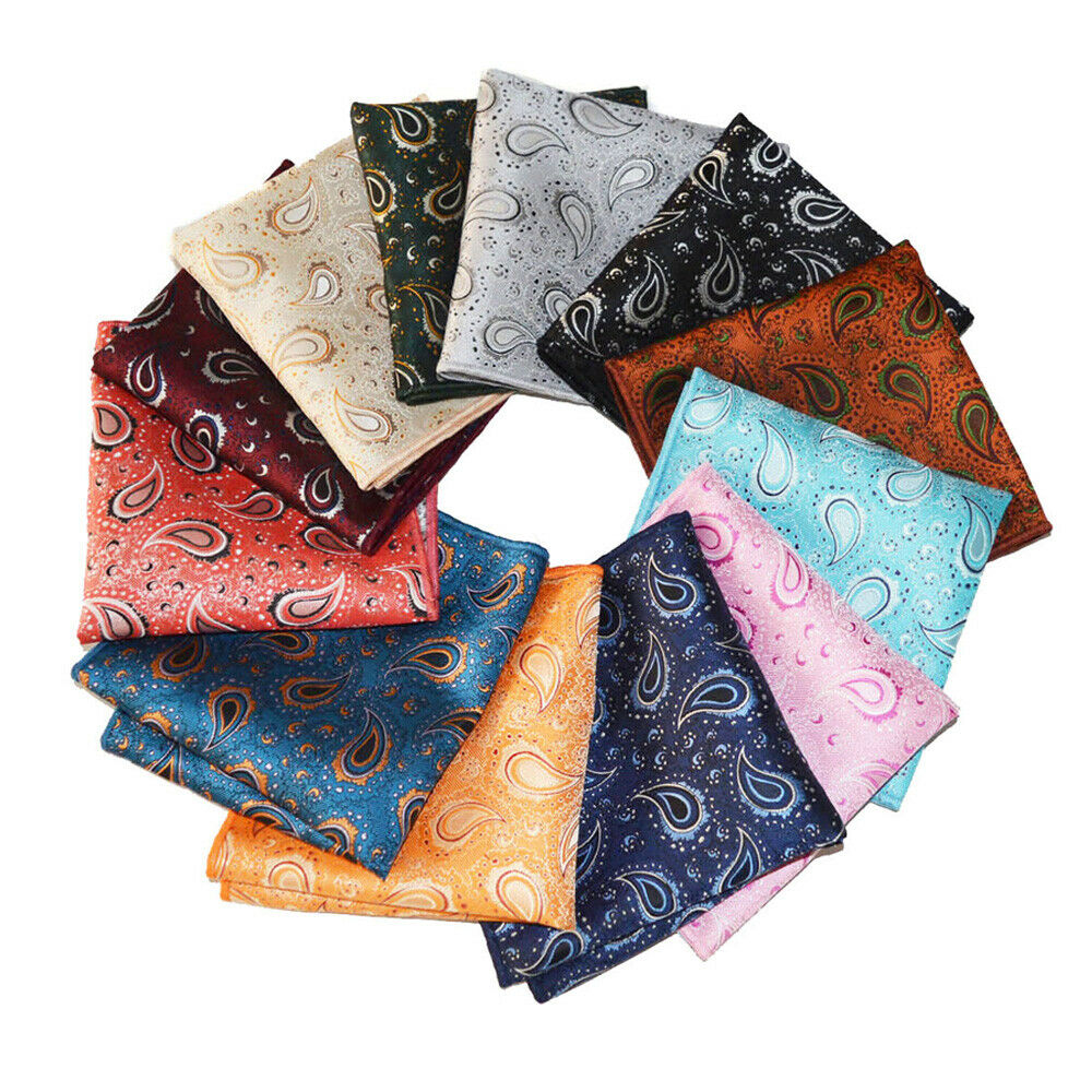 12 PCS Men Paisley Printed Pocket Square Business Wedding Hanky Handkerchief YXTIE0335A
