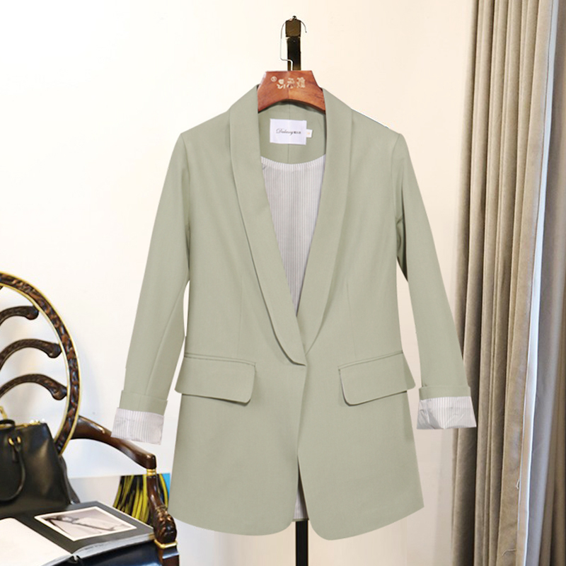 Stylish Ladies Blazer Beige Loose Casual Simple Suit Jacket Blazers Mujer Korean Party Women Blazer Autumn Large Size MM60NXZ