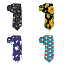 8cm Funny Neckties Classic Men's Navy Blue Slim Wedding Ties Polyester Men 3D Printed Neck Party Accessories