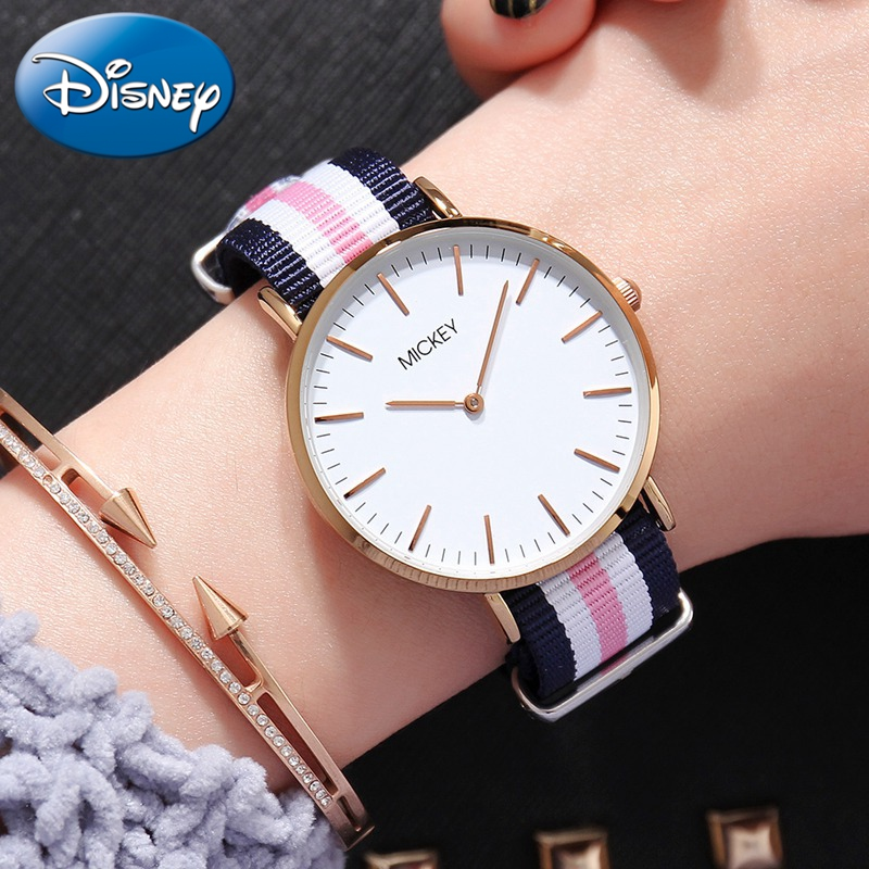 Women Simple Ultrathin Nylon Canvas Band Watch Mickey Mouse Ladies Quartz Waterproof Wristwatch Student Clock Gift Relojes Mujer