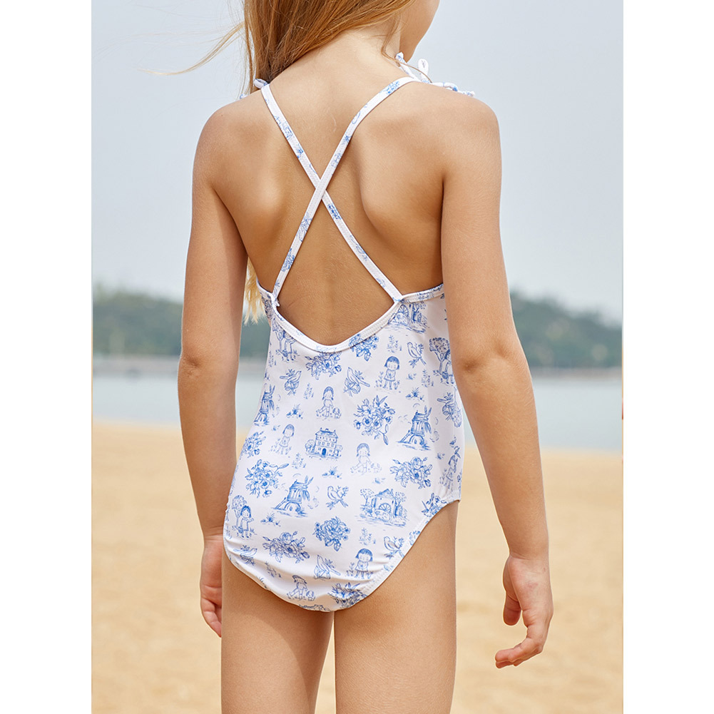 Shi Ying GIRL'S Swimsuit Printed Belly Covering Conservative Hot Springs Beach Princess Students One-piece Swimming Suit 410045
