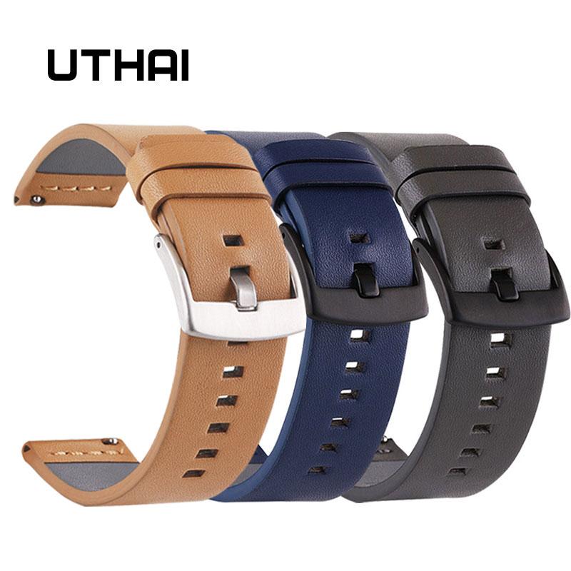 UTHAI Z26 Ремешки для наручных часов из натуральной кожи 18 20 22 24 мм для Samsung Watch 46 мм 44 мм 42 мм 40 мм ремешок для Huawei Watch For moto360 II